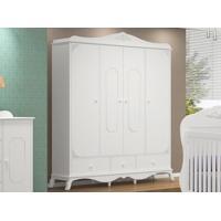 Guarda-Roupa Realeza 4 Portas Branco/Acetinado - Canaã Móveis