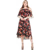 Vestido Clara Arruda Decote Babado Feminino - Feminino-Estampado