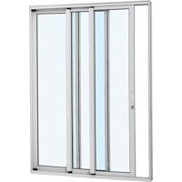 Porta De Correr Alumínio - 3 Folhas - Branco Alumifort Esquerda 216X160X12,5Cm - 77136541 - Sasazaki - Sasazaki