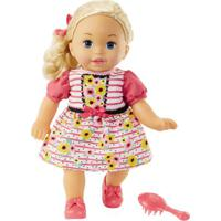 Boneca Bebê - Little Mommy - Doce Bebê - Loira - Vestido Rosa Com Flor - Mattel