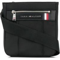 Tommy Hilfiger Bolsa Carteiro Com Placa De Logo - Preto