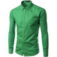 Camisa Social Slim Fit Solid - Verde