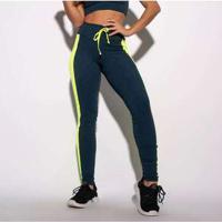 Legging Fitness Azul Marinho Textura E Recorte Neon Lg1545