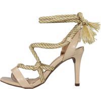 Sandália Salto Médio Week Shoes New Pele E Corda Nude