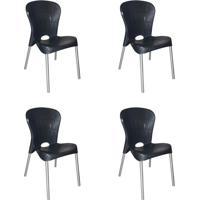 Conjunto Com 4 Cadeiras De Plástico Montes Claros Preto