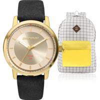 Kit Relógio Feminino Mormaii Com Mochila Vintage