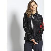 Camisa Mari Em Seda Com Recorte - Preta   Vermelhale Lis Blanc 4c49f15202415