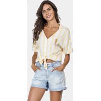 Camisa Listrada Com Bordado Tecido Amarelo Limonada - Lez A Lez