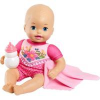 Boneca Bebê - Little Mommy - Recém Nascido - Bebê Faz Xixi - MacacãoRosa Com Flores - Mattel