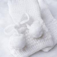 Sapatinho Bebê Unissex Tricot Pompom Branco Grão De Gente Branco