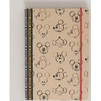 Caderno Mickey Estampado Capa Dura Sem Pauta 20,5 Cm X 14 Cm Bege