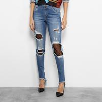 Calça Jeans Skinny Morena Rosa Andreia Barra Assimétrica Meia Arrastão Feminina - Feminino-Jeans