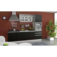 Cozinha Modulada Completa 4 Módulos Com Armário 100% Mdf Branco/Ébano - Glamy
