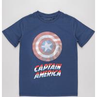Camiseta Infantil Capitão América Manga Curta Azul Marinho