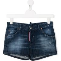 Dsquared2 Kids Short Jeans Com Efeito Desbotado - Azul