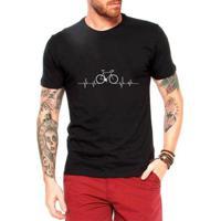 Camiseta Criativa Urbana Bicicleta Ciclismo Pulsação Masculina - Masculino-Preto