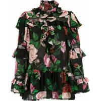 Dolce & Gabbana Camisa Floral Com Babados - Hnx46