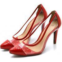 Sapato Feminino Scarpin Salto Alto Fino Em Verniz Vermelho Com Transparência