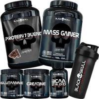 Kit Protein 7/837G+Mass Gainer 1,5Kg+Glutamine 300G+Creatine 300G+Bcaa 100Tbs+Coq 600Ml-Black Skull - Unissex