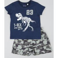 f4c3f09e7c5df CEA  Conjunto Infantil De Camiseta Dinossauro Manga Curta Azul Marinho +  Bermuda Estampada Camuflada Verde