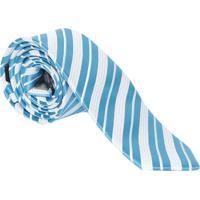 Gravata Slim Fit Acetinada- Azul & Branca- 6X77Cmogochi