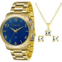 Kit Relógio Feminino Lince Lrg4374L Ku19 Com Semij - Unissex-Dourado