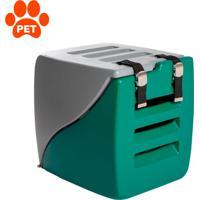 Caixa De Transporte Para Pet Happy Box Cinza E Verde