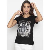 Blusa Tigre Com Bordado Em Paetê - Bege & Preta- Cavcavalari
