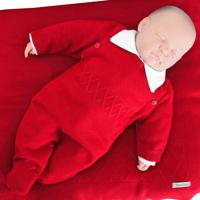 Saída De Maternidade Tamine 3 Peças Tricô Vermelho