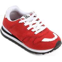 Tênis Infantil Addan Jogging Masculino - Masculino-Vermelho+Branco