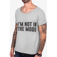 Camiseta I'M Not In The Mood Mescla Escuro Gola Canoa 103401