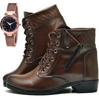 Bota Coturno Cano Curto Fashion Com Relógio Gold Dubuy 201El Marrom