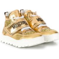 Moschino Kids Tênis Cano Alto Com Brilho - Dourado