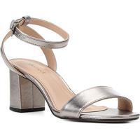 Sandália Couro Shoestock Metalizada Salto Bloco Médio Feminina - Feminino-Prata