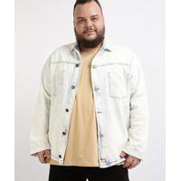 Jaqueta Jeans Masculina Plus Size Com Bolsos E BotõesAzul Claro