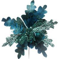 Flor Poinsettia Decoração Natal Com Glitter 23Cm Cor Azul