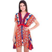 Vestido Ticantê Estrela Flor Feminino - Feminino-Vermelho