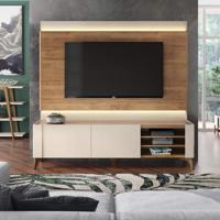 Rack Com Painel Para Tv Até 72 Polegadas Líder Design Caemmun Off White/Buriti