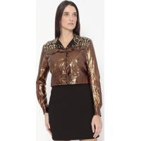 Casaco Metalizado Com Paetê - Marrom & Dourado - Alealexandre Herchcovitch