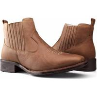 Bota Texana Country Capelli Boots Couro Cano Curto Fechamento Elástico Feminina - Feminino-Marrom