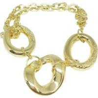 Pulseira Banho De Ouro Elos Grandes E Cartier Kumbayá Joias - Feminino-Dourado