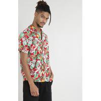 aa4f5fe09 Camisa Masculina Manga Curta Estampada Floral Tropical Vermelha