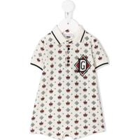 Dolce & Gabbana Kids Macaquinho Com Estampa De Coroas - Branco