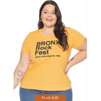 T-Shirt Feminina Básica Com Escrita Amarelo