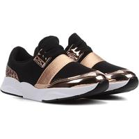 Sapato Infantil Molekinha Tira Metalizada Feminino - Feminino-Preto