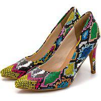 Sapato Feminino Scarpin Salto Alto Fino Em Cobra Colorida Lançamento