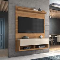 Painel Home Suspenso Para Tvs Até 50 Polegadas Com Suporte Para Tv Block Caemmun Buriti/Off White