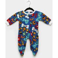 Macacão Bebê Candy Kids Pijama Soft Pé Zíper - Masculino-Azul Claro