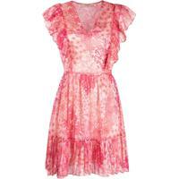 Twinset Vestido Com Babados E Estampa Floral - Rosa