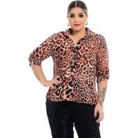 Camisa Martingale Onça Plus Size